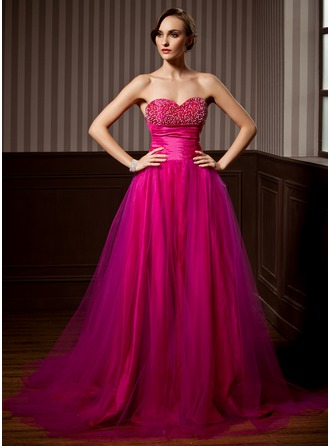A-Line/Princess Sweetheart Court Train Tulle Quinceanera Dress With Ruffle Beading