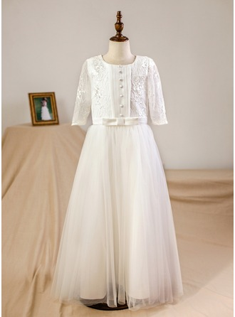 A-Line/Princess Floor-length Flower Girl Dress - Organza/Tulle 3/4 Sleeves Scoop Neck