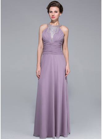 A-Line/Princess Scoop Neck Floor-Length Chiffon Mother of the Bride Dress With Ruffle Beading Cascading Ruffles