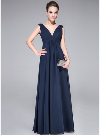 A-Line/Princess V-neck Floor-Length Chiffon Charmeuse Evening Dress With Ruffle Beading