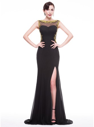 Trumpet/Mermaid Scoop Neck Sweep Train Chiffon Evening Dress With Beading Split Front