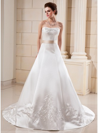 A-Line/Princess Sweetheart Cathedral Train Satin Wedding Dress With Embroidered Sash Beading Bow(s)