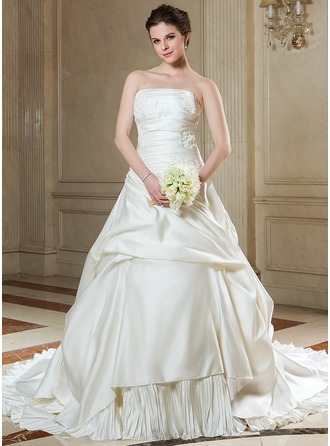 Ball-Gown Strapless Chapel Train Satin Wedding Dress With Beading Appliques Lace Pleated