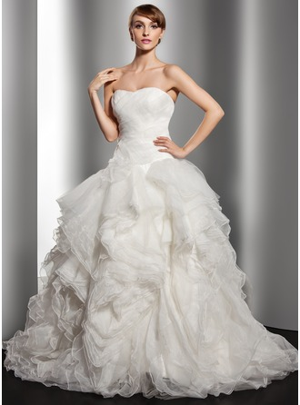 Ball-Gown Sweetheart Court Train Organza Wedding Dress With Cascading Ruffles
