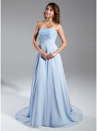 A-Line/Princess Strapless Chapel Train Chiffon Evening Dress With Ruffle Beading