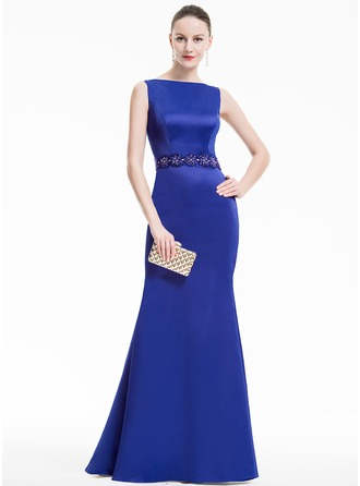 Trumpet/Mermaid Scoop Neck Floor-Length Satin Evening Dress With Beading Sequins
