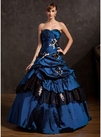 Ball-Gown Sweetheart Floor-Length Taffeta Organza Quinceanera Dress With Ruffle Beading Appliques Lace Flower(s) Sequins