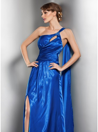 A-Line/Princess One-Shoulder Floor-Length Charmeuse Evening Dress With Ruffle Beading Split Front