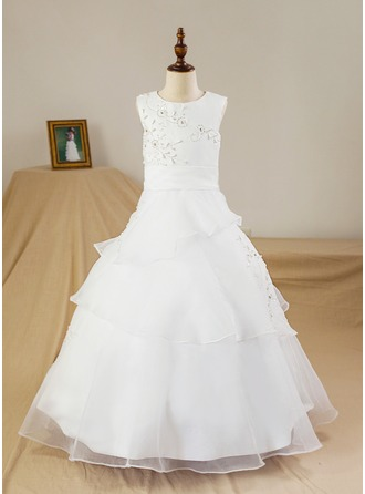 A-Line/Princess Floor-length Flower Girl Dress - Satin/Tulle Sleeveless Scoop Neck With Beading/Flower(s) (Petticoat NOT included)