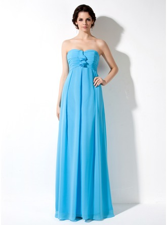 Empire Sweetheart Floor-Length Chiffon Chiffon Maternity Bridesmaid Dress With Cascading Ruffles