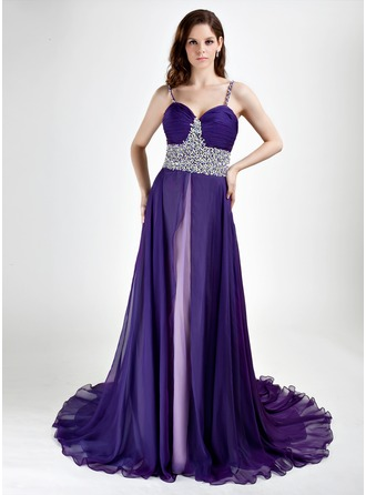 A-Line/Princess Sweetheart Court Train Chiffon Evening Dress With Beading