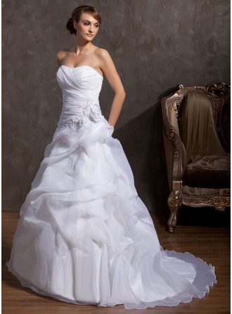 A-Line/Princess Sweetheart Court Train Organza Wedding Dress With Beading Appliques Lace Flower(s)