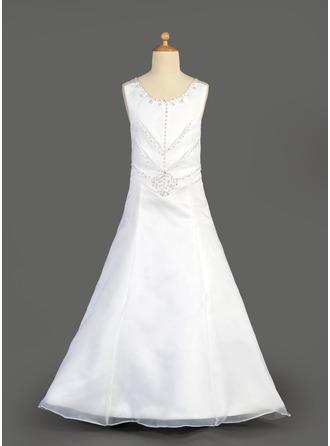 A-Line/Princess Scoop Neck Floor-Length Organza Satin Flower Girl Dress With Beading Sequins Cascading Ruffles