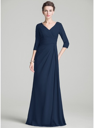 A-Line/Princess V-neck Sweep Train Chiffon Mother of the Bride Dress With Ruffle Beading
