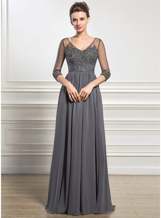 A-Line/Princess V-neck Floor-Length Chiffon Tulle Mother of the Bride Dress With Ruffle Beading Appliques Lace Sequins