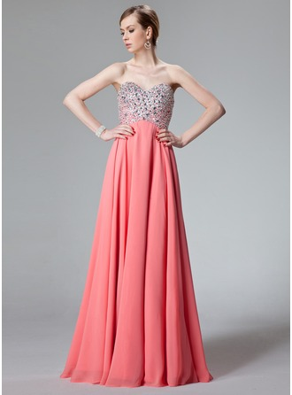 A-Line/Princess Sweetheart Floor-Length Chiffon Prom Dress With Beading Sequins