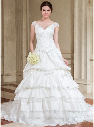 A-Line/Princess Off-the-Shoulder Chapel Train Taffeta Wedding Dress With Lace Beading Sequins Cascading Ruffles