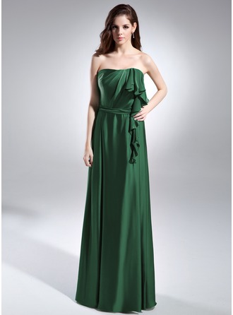 A-Line/Princess Strapless Floor-Length Charmeuse Evening Dress With Cascading Ruffles