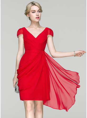 Sheath/Column V-neck Knee-Length Chiffon Cocktail Dress With Ruffle Cascading Ruffles