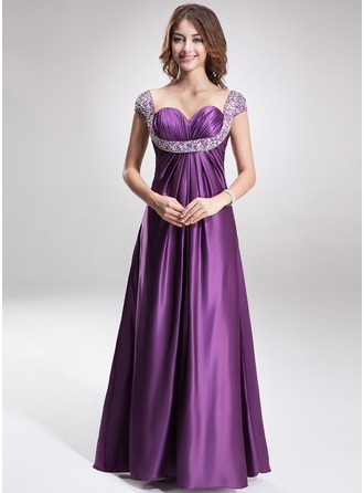Empire Sweetheart Floor-Length Charmeuse Evening Dress With Ruffle Beading
