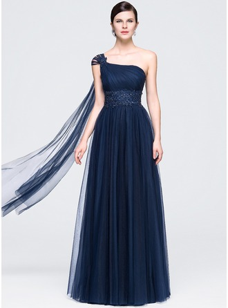 A-Line/Princess One-Shoulder Floor-Length Tulle Evening Dress With Ruffle Beading Appliques Lace Sequins