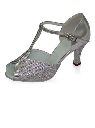Women's Sparkling Glitter Patent Leather Heels Sandals Latin With T-Strap Dance Shoes
