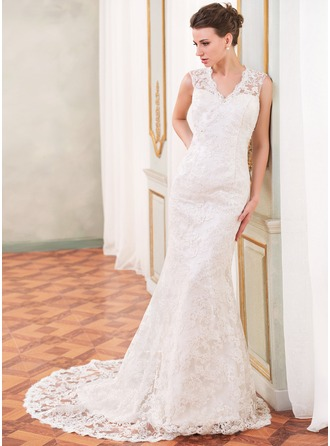 Trumpet/Mermaid V-neck Chapel Train Lace Wedding Dress With Beading Sequins
