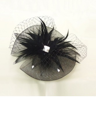 Fil net/Feather Chapeaux de type fascinator avec Strass