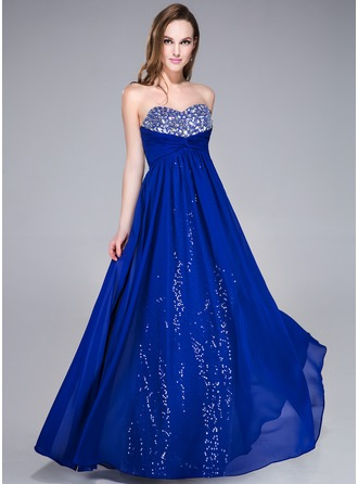 Empire Sweetheart Floor-Length Chiffon Sequined Prom Dress With Ruffle Beading