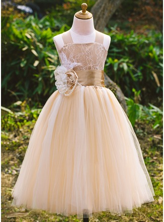 Tulle/Satin/Lace With Imitation Pearls/Flower Dresses