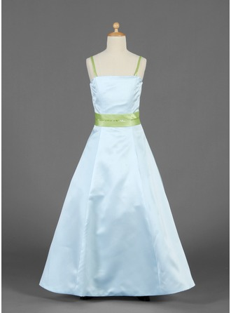 A-Line/Princess Floor-Length Satin Junior Bridesmaid Dress With Sash