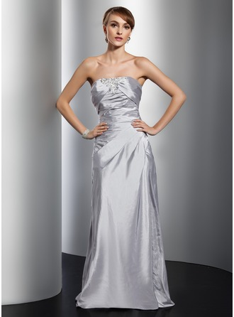 Sheath/Column Strapless Floor-Length Taffeta Evening Dress With Ruffle Beading Appliques Lace