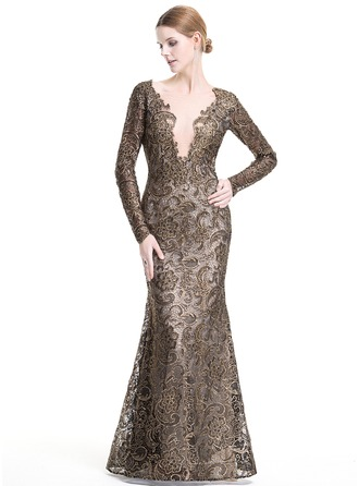 Trumpet/Mermaid Scoop Neck Floor-Length Lace Evening Dress With Beading