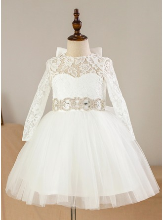 A-Line/Princess Knee-length Flower Girl Dress - Satin/Tulle/Lace Long Sleeves Scoop Neck With Beading/Bow(s)/Rhinestone/Back Hole