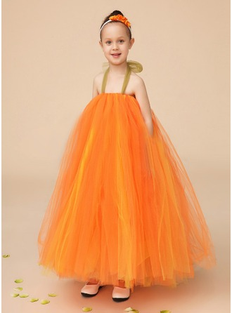 A-Line/Princess Halter Ankle-Length Tulle Flower Girl Dress With Bow(s)