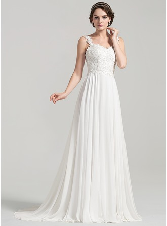 A-Line/Princess Sweetheart Sweep Train Chiffon Lace Wedding Dress