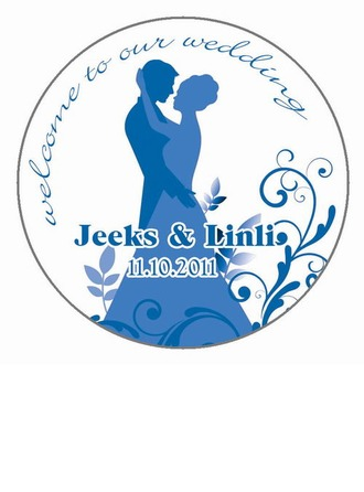 Personalized Bride And Groom Waterproofing Material Stickers