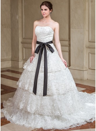 A-Line/Princess Sweetheart Chapel Train Satin Lace Wedding Dress With Sash Beading Sequins Bow(s)