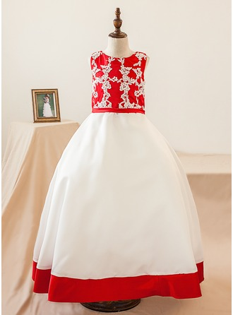 Ball Gown Floor-length Flower Girl Dress - Satin Sleeveless Scoop Neck With Appliques/Bow(s)