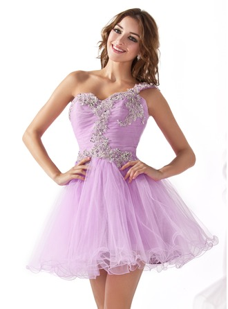 A-Line/Princess One-Shoulder Short/Mini Tulle Homecoming Dress With Ruffle Appliques Lace Sequins
