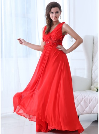 A-Line/Princess V-neck Floor-Length Chiffon Holiday Dress With Ruffle Beading Flower(s)