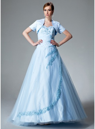Ball-Gown Sweetheart Floor-Length Satin Tulle Quinceanera Dress With Ruffle Beading Appliques Lace