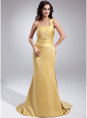 Trumpet/Mermaid One-Shoulder Watteau Train Satin Evening Dress With Ruffle