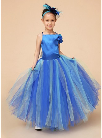 A-Line/Princess Square Neckline Floor-Length Charmeuse Tulle Flower Girl Dress With Beading Flower(s) Bow(s)