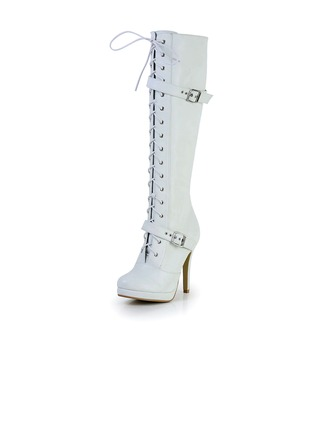 Leatherette Stiletto Heel Platform Knee High Boots With Buckle Zipper shoes