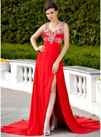 A-Line/Princess Sweetheart Court Train Chiffon Evening Dress With Beading Appliques Split Front