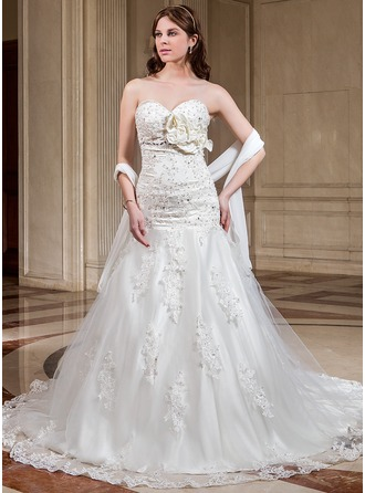 A-Line/Princess Sweetheart Cathedral Train Satin Tulle Wedding Dress With Lace Beading Flower(s) Sequins