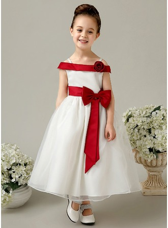 A-Line/Princess Off-the-Shoulder Ankle-Length Satin Flower Girl Dress With Flower(s) Bow(s)