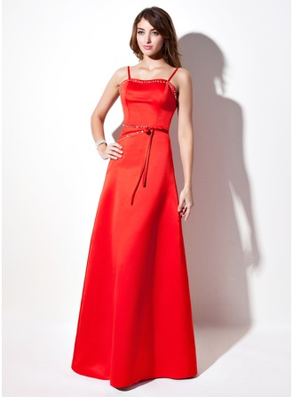 A-Line/Princess Sweetheart Floor-Length Satin Holiday Dress With Beading Bow(s)