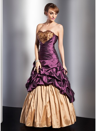 A-Line/Princess Sweetheart Floor-Length Taffeta Quinceanera Dress With Ruffle Lace Beading Flower(s)